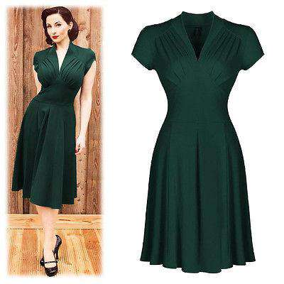 Sexy Vintage 50's Swing Formal Evening Party Dress Green