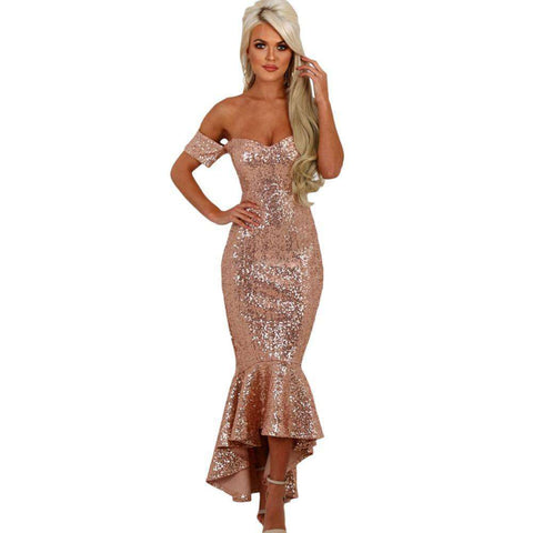 Champagne Off Shoulder Sequins Hi-lo Mermaid Party Dresses
