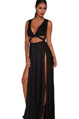 Plunge Deep V Neck Cut Out Backless Lace Slit Maxi Dress