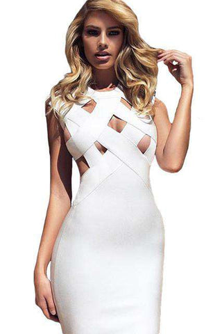 Sexy Bandage Cutout O-neck Sleeveless Bodycon Dress White