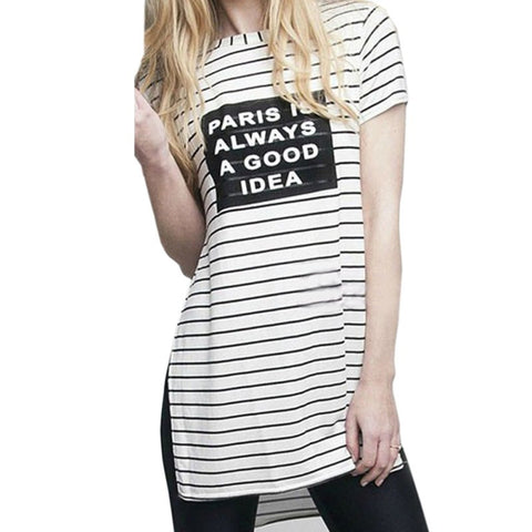 Striped Paris Is Always A Good Idea Letter Printed Side Split White T Shirt