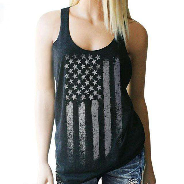 American Flag Print Sleeveless Tank Tops Vest T-Shirt Black