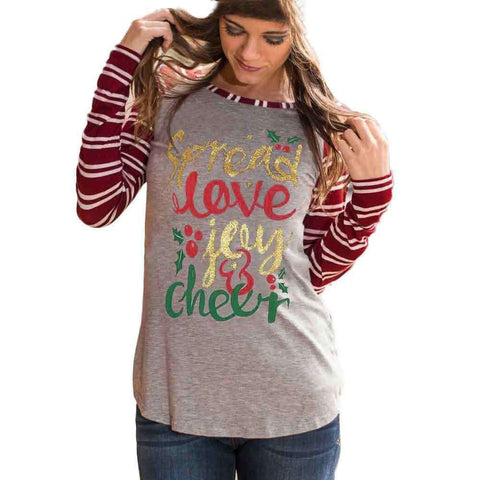 Casual Long Sleeve T Shirt Women Letter Printed Striped Splicing Grey