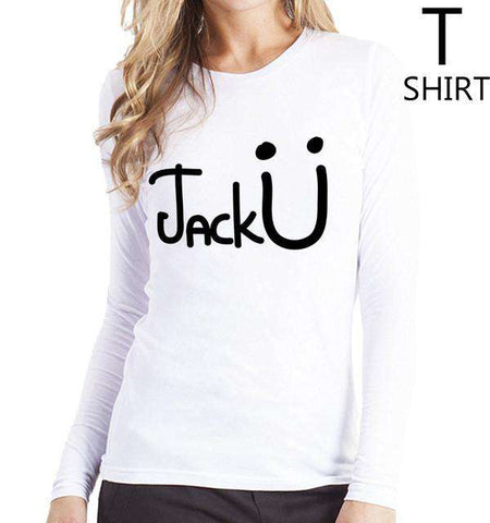 Jack U Letters Print T Shirt Long Sleeve  Women's White