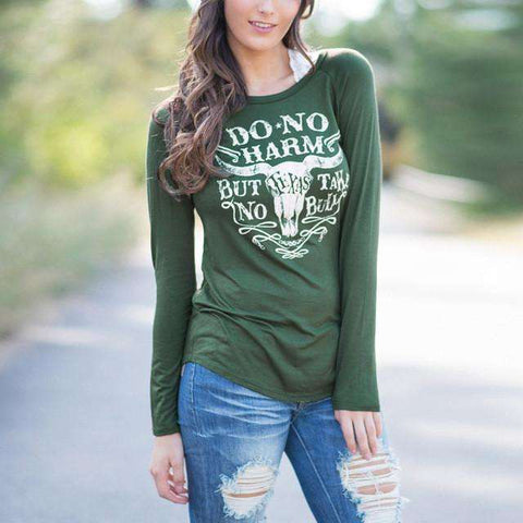 Do No Harm Letter Print O Neck Long Sleeve T-Shirt Green