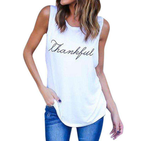 Casual Sleeve Thankful Letter Printed Sleeveless Tank Top