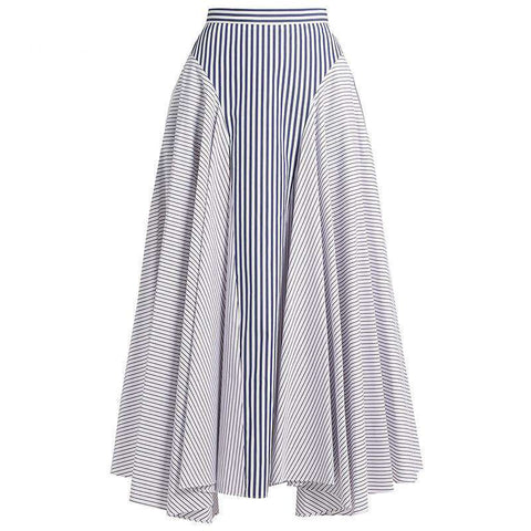 Asymmetrical Stripe Patchwork Ankle Length Skirt White Black