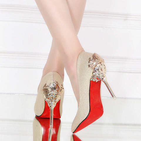 31474e78071 Thin High Heel Pumps Red Bottom Metal Design Party Shoes ...