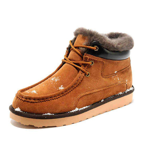 Men's Lace Up Round Toe Soft Leather snow Boots Yellow