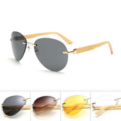 Rimless Wooden Sides Sunglasses Unisex