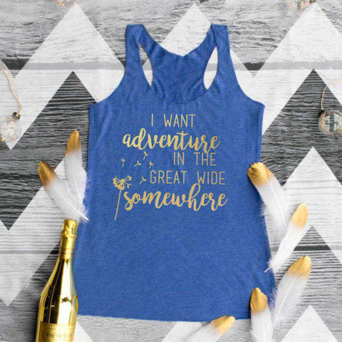 I Want Adventure Letters Print O-Neck Casual Blue Tank Top
