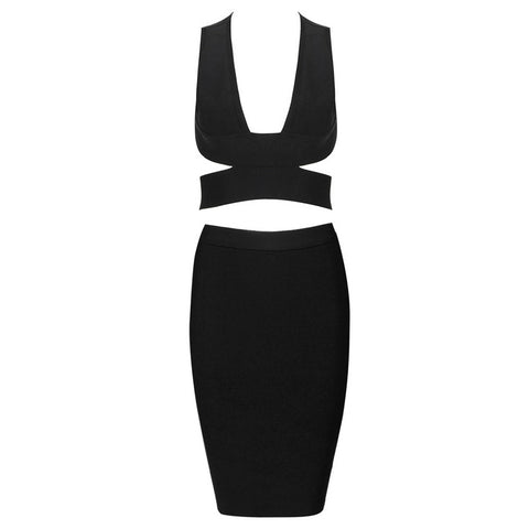 Two Piece Bandage Dress Black