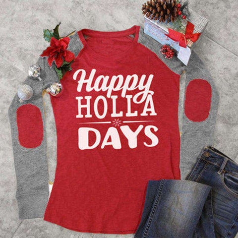 Happy Holla Days Printed Elbow Patchwork Long Splicing Sleeves Red Tee
