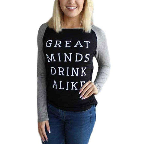 Great Minds Drink Alike Letters Printed Patchwork Long Sleeve Black T-Shirt