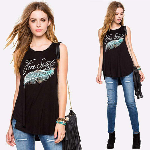 Feather Letter Printed Round Neck Loose Sleeveless Women Tops Black