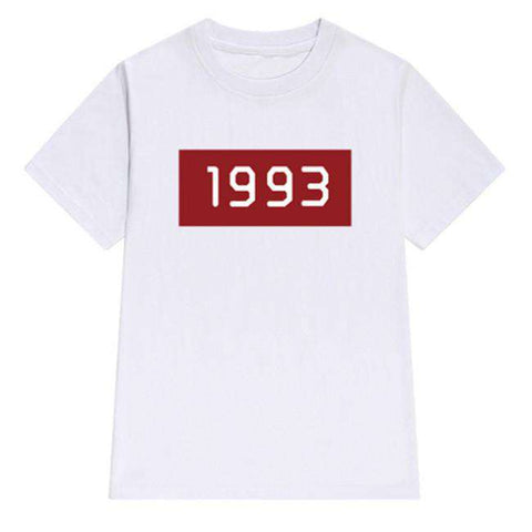 1993 Digital Print O-neck T-shirt Casual Short Sleeve White