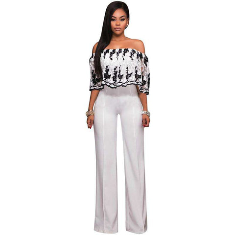 Ruffle Off Shoulder Jumpsuit Lace Strapless Party Club Rompers Jumpsuit White
