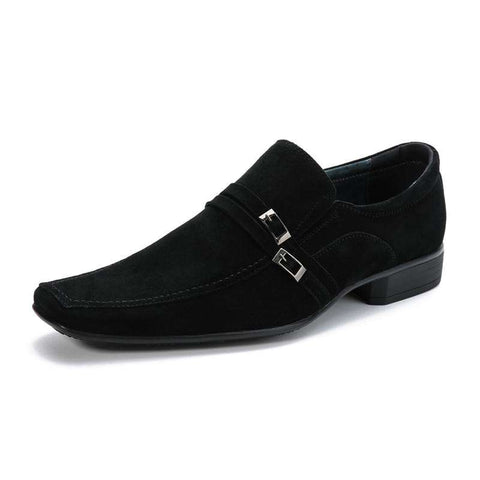 Men's Genuine Leather Buckle Round Toe Formal Dress Shoes Black