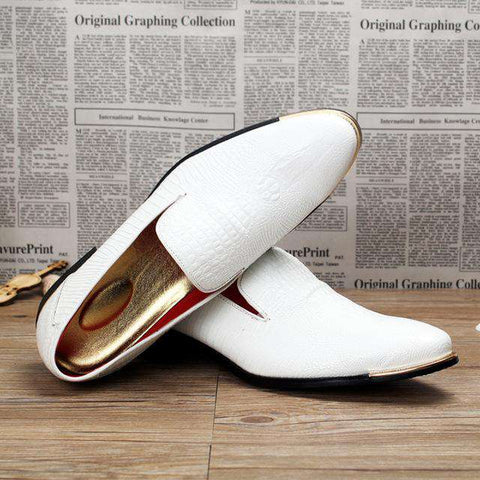 Genuine Leather Pointed Toe Formal Slip On Loafers