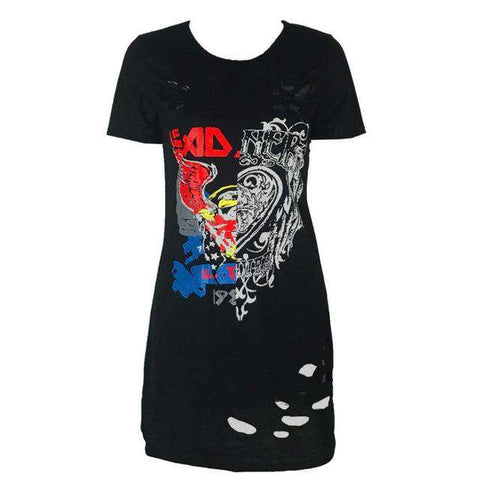 Vintage Rock Short Sleeve Mini Hollow O Neck T-Shirt Dress Black