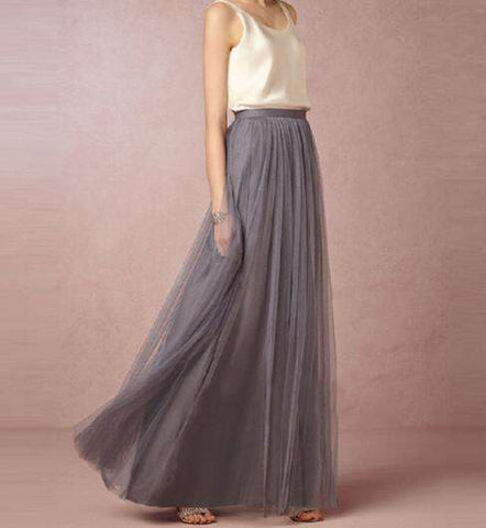 3 Layers Long Soft Tulle Tutu Skirt Ball Gown Grey