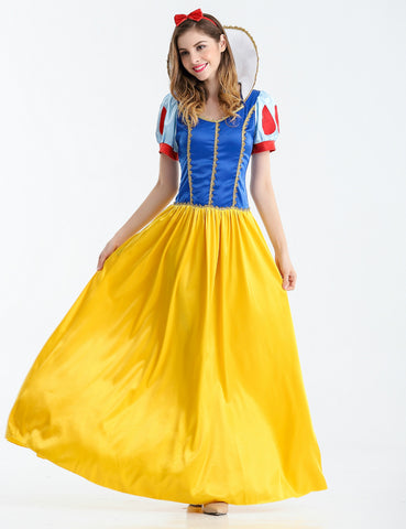 Snow White Cosplay Costume Halloween Carnival Party Dress Adult Yellow/Blue
