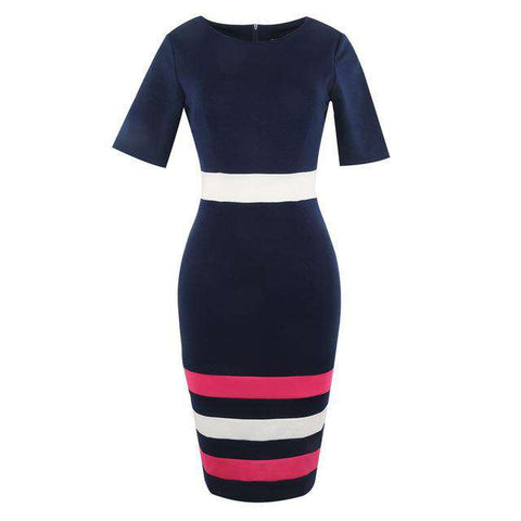 Summer Formal Knee Length Half Sleeve Stripe Work Dress