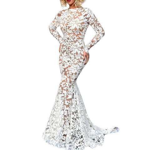 Backless Hollow Out Lace Stitching Long Sleeve Party Mermaid Dress White