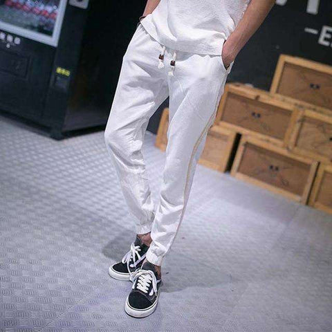 Men Cotton Casual Joggers Ankle-Length Pants