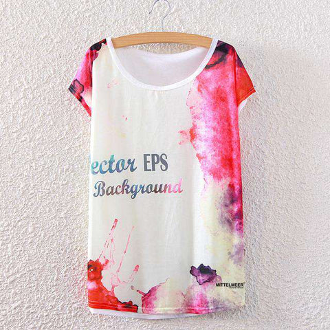 Abstract Ink Letters Printed Short Sleeve Women T shirt White