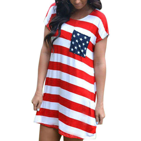 Mini Print American Flag Casual Short Sleeve Striped T-Shirt Dress