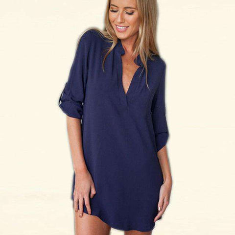 Chiffon V-Neck Long Sleeve Silk Sleepwear T-Shirt Blue