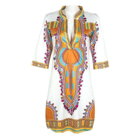 African Dashiki Tranditional Print V Neck T-Shirt Dress White