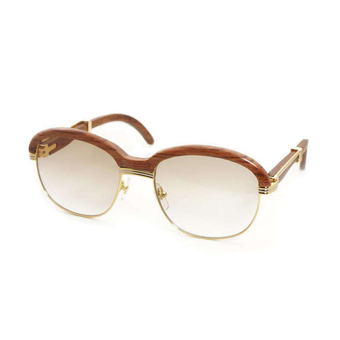 Round Frame Wooden Sunglasses For Men
