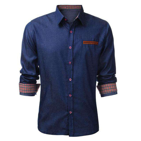 Long Sleeve Patchwork Casual Cotton Denim Dress Shirt