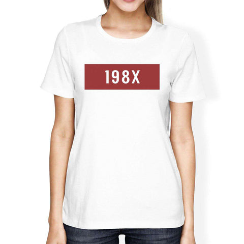 198X Graphic Print Short Sleeve Casual White T-Shirt