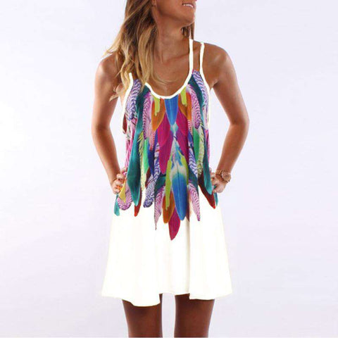 Chiffon Feather Printed Sleeveless Spaghetti Strap Mini Dress
