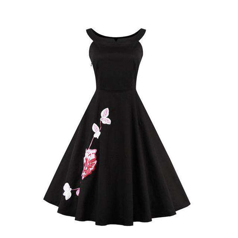 Embroidery Flower Print Sleeveless Halter Neck Party Dress Black