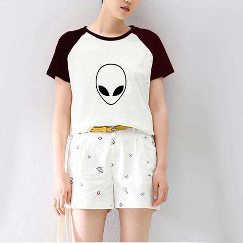 Alien Letter Print Short Sleeve Women's T shirt Black/White