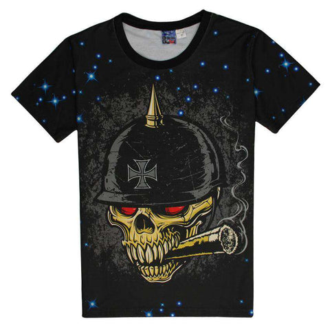 3D Flash Smoking Skull Short Sleeve T-shirt Men Black