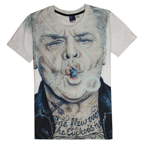 3D Smoking Casual T Shirt Short Sleeve Men White