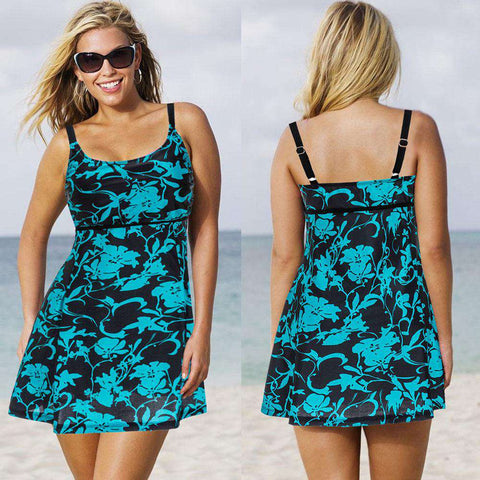 Flower Print Skirt Padded Two Piece Beachwear Swimwear Dress Blue