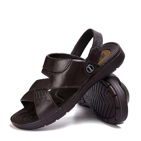 Men's Casual Genuine Leather Beach Sandals Brown