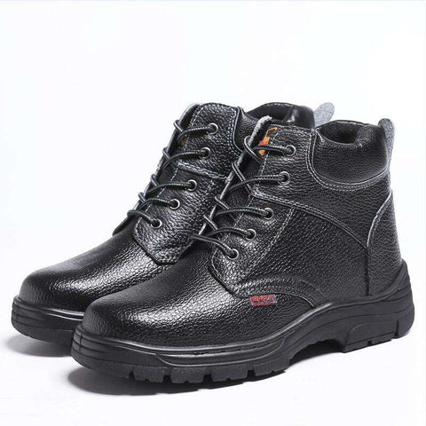 Men's Round Toe Lace Up Soft Leather Boots Black