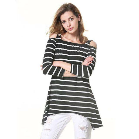 3/4 Sleeve Striped Off Shoulder Irregular Cold Shoulder T- Shirt