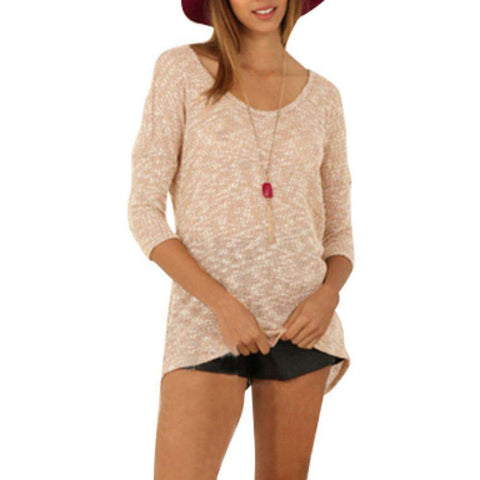 3/4 Sleeves Knitted Crewneck Pullover Casual T shirt Beige
