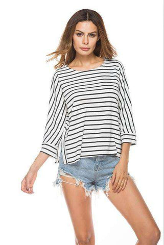 3/4 Sleeves Knitted T Shirts Women Striped Outfit Black/White