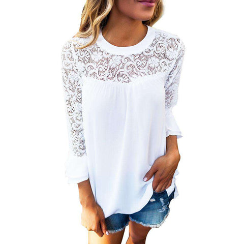3/4 Sleeve Frill Embroidery Lace Blouse White