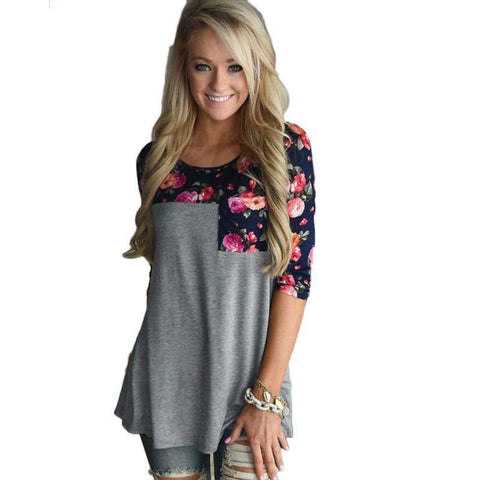 3/4 Sleeve Floral Printed Patchwork T Shirts Grey