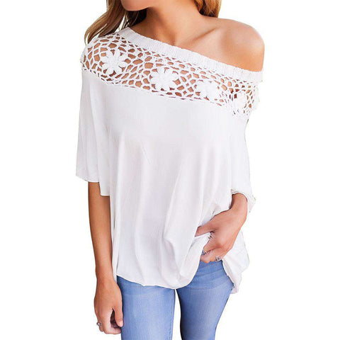 3/4 Sleeve Hollow Lace Patchwork Casual Fit Top White